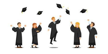 Illustration of a group of female and male friends celebrating their university or school graduation and throwing a hat up Vector Illustratie