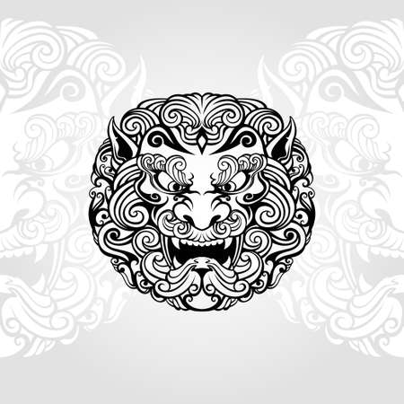 foo dog illustration  in black and white
