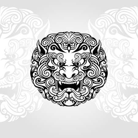 foo dog illustration in black and white