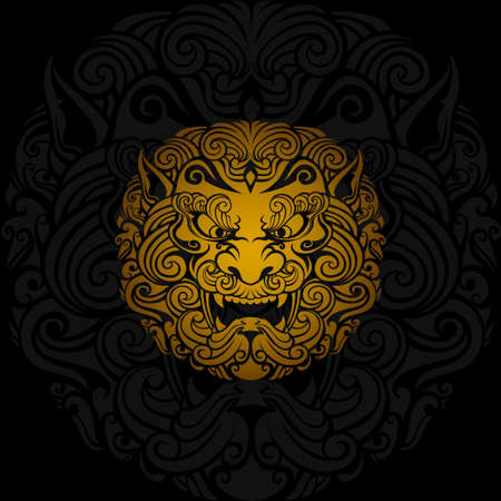 Golden foo dog vector