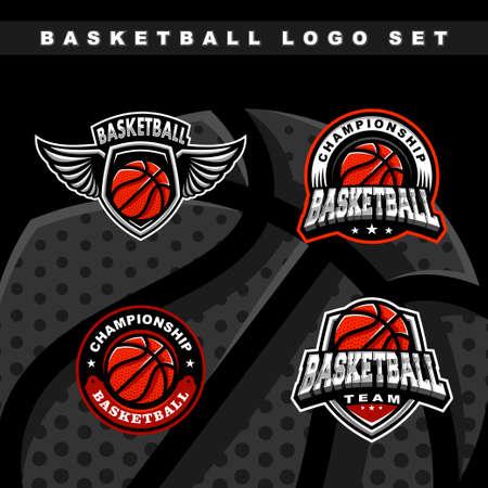 Basketball set logo vector