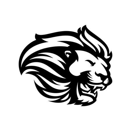 Lion head mascot black and white