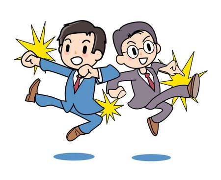 salaryman: Salaryman fight Illustration