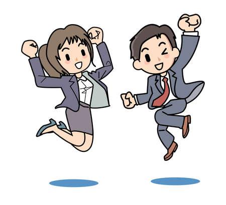 健康にジャンプする二人のサラリーマン イラスト