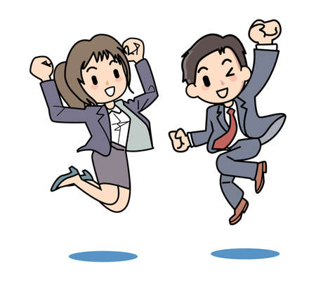 Salaryman illustration of two people to jump to the healthy Illustration