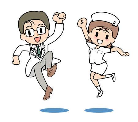 hospital cartoon: Medici e infermieri Vettoriali