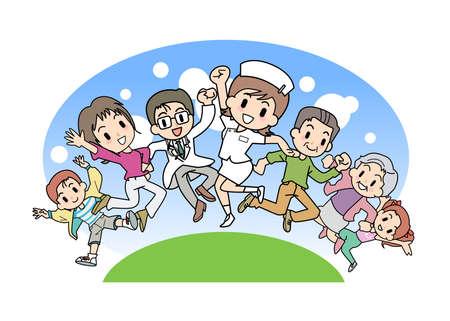 teamwork cartoon: Pulse-Medical care  Illustration