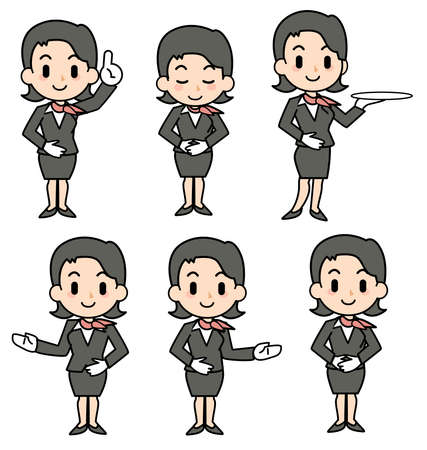 plural number: concierge - woman - set Stock Photo