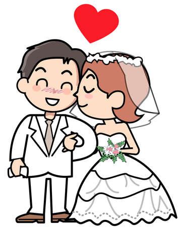 wedding dress back: Couple - kiss Stock Photo
