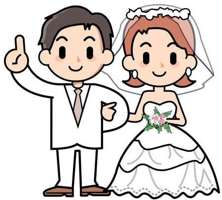 wedding dress back: couple - finger point