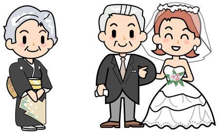 wedding dress back: Wedding ceremony - greetings Stock Photo