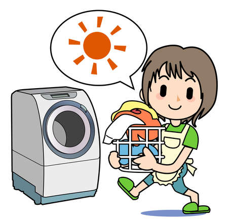 fine weather: Housework of the mom - Washing