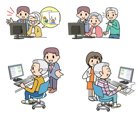 PC of the elderly person Set Stock Photo