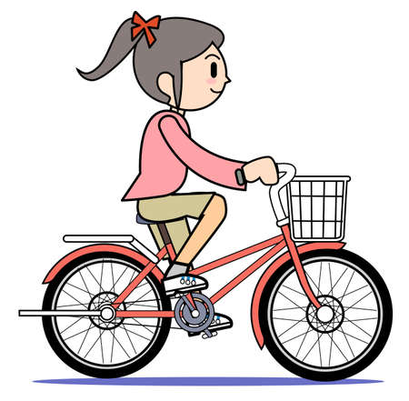 Mother who rides a bicycle photo