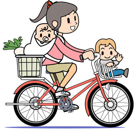 Mother who rides a bicycle Stock Photo - 15301413