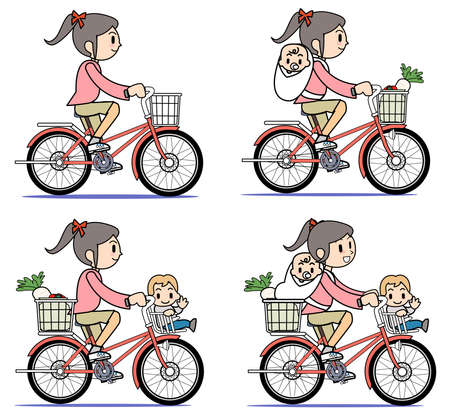 Mother who rides a bicycle-set Stock Photo - 15301440