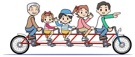 tandem: Tandem bicycle - family