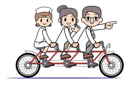 tandem: Tandem bicycle - Medical team Stock Photo