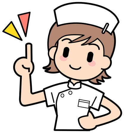 Nurse-Here points it Stock Photo - 15312588