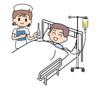 nursing treatment: Enfermera y paciente recepci�n Foto de archivo