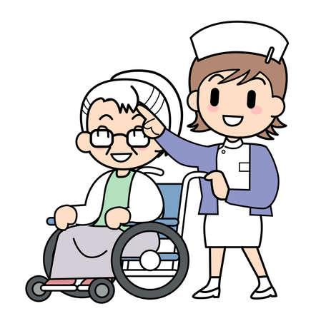 enfermera con paciente: Enfermera Salir Foto de archivo