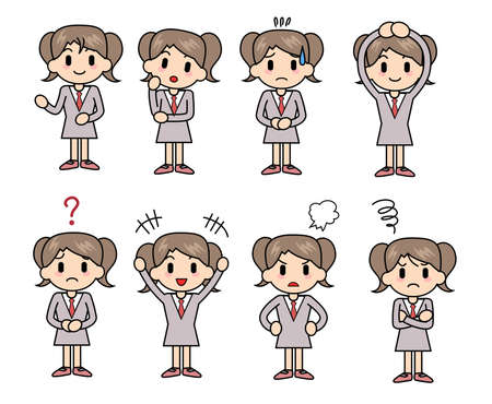 Collection of expressions of the girl