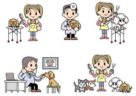 Veterinarian Dog groomer 免版税图像