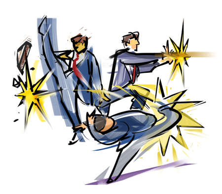 assertion: Fighting office workers