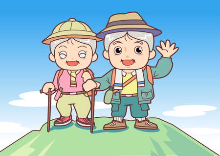Mountain climbing of the elderly person - two people