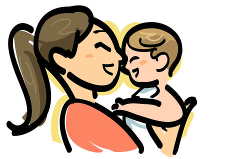 baby drawing: baby and mom