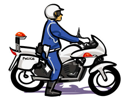 motorcycle officer: Police officer of white motorcycle Stock Photo