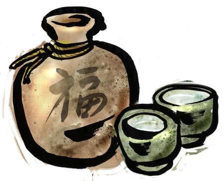 japanese sake: Una botella de sake y licor
