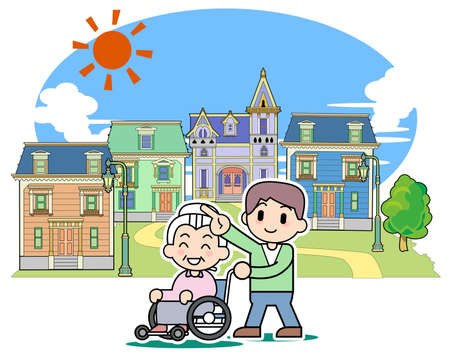 american stories: Pleasant town - Wheelchair Stock Photo