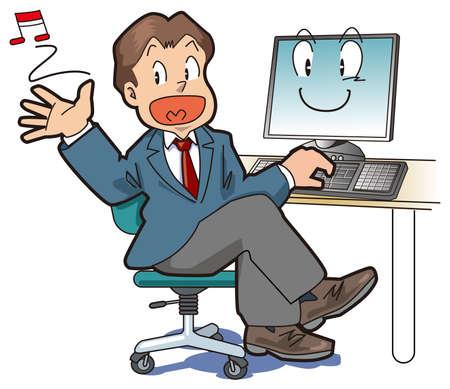 sentarse: Un empleado de oficina está satisfecho con comodidad con un PC
