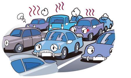 crowded road.