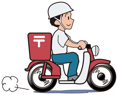 mail delivery: It is a person working as a mail carrier on a motorcycle.