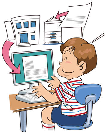 A student takes in a print Stock Vector - 16424157