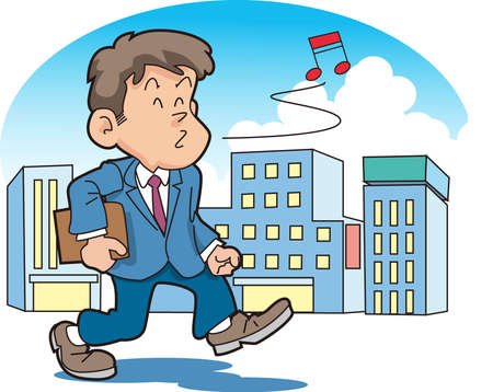high spirits: The office worker and whistles Illustration