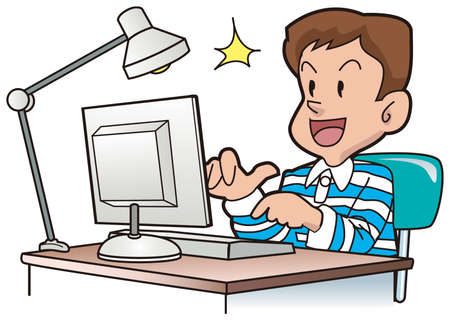 A kid uses the note PC Stock Vector - 16424187