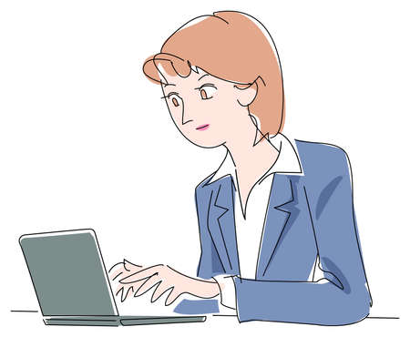 note pc: Woman of the office Illustration