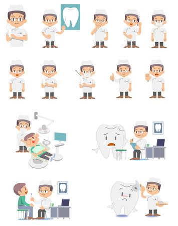 치과 의사 - 세트 일러스트