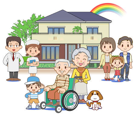 make a call: Home medical care - Outdoors Stock Photo