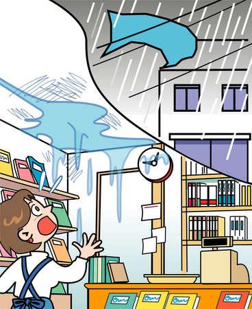 typhoon: Bookstore - leak Stock Photo