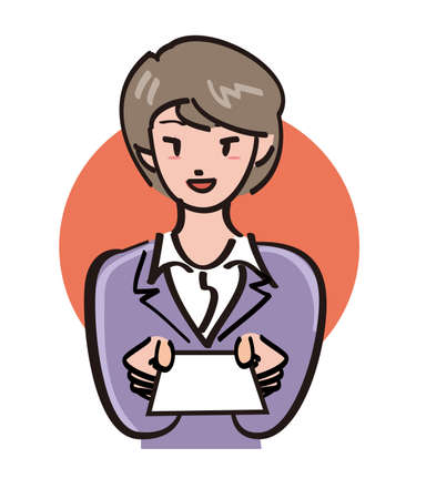 office lady: Office Lady - card offer Stock Photo