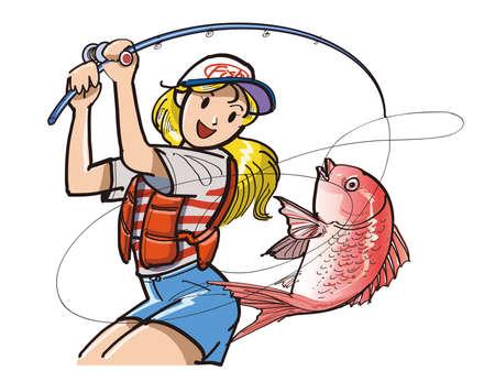 bream: Women in fishing Stock Photo