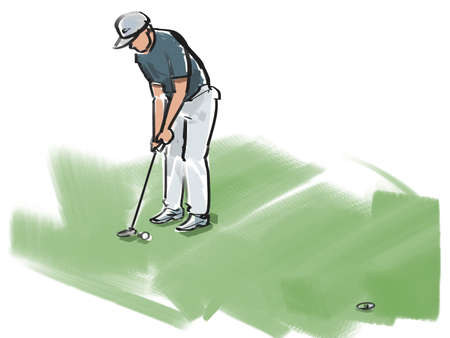 concentrating: Golf - putters