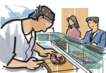 male animal: Sushi counter