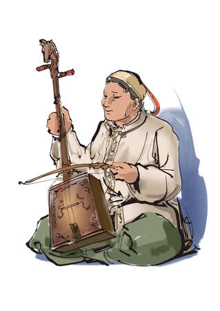 stringed: A man playing the Morin khuur Stock Photo
