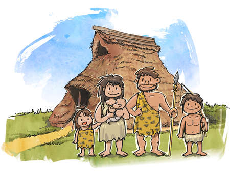 Pit huizen en gezinnen Stockfoto