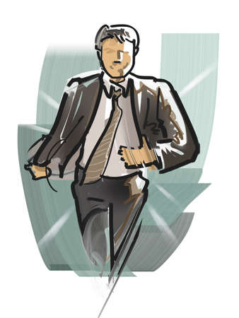 dash: Office worker to dash Stock Photo